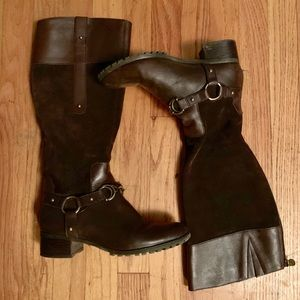 Etienne Aigner brown suede and leather boots